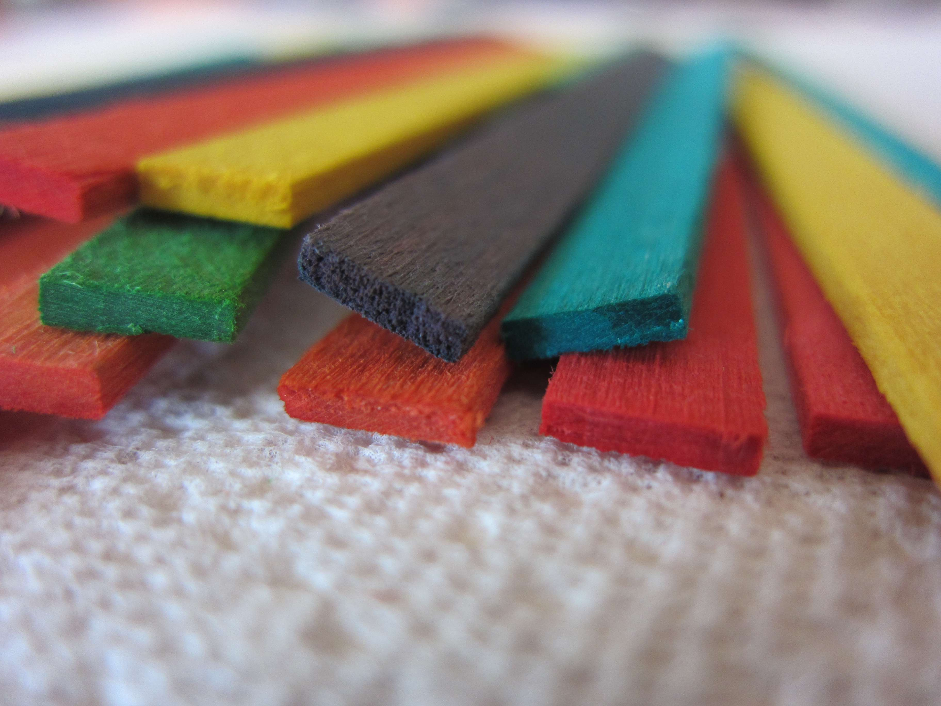 Food dyed wood ends